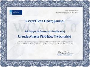 Certyfikat Dostępności izgodności zWCAG 2.0